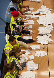 © Licensed to London News Pictures.  07/05/2015. Bristol, UK.  General Election 2015 vote count in Bristol West and Bristol North West seats, at the City Academy.  Photo credit : Simon Chapman/LNP