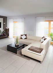 Empty sofa in a modern living room, Munich, Bavaria, Germany