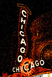 Digitial painting of Chicago Theater marquee sign at night in downtown Chicago, Illinois. The Chicago Theater is a Chicago Landmark and is listed with the National Register of Historic Places. This digital art is created from a high resolution photograph.