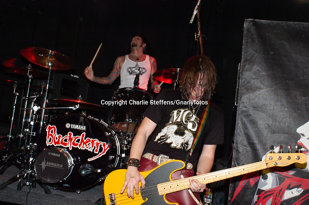 XAVIER MURIEL (L) and JIMMY AHSHHURST of  Buckcherry at the Whisky a Go Go in West Hollywood, California