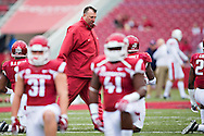 FAYETTEVILLE, AR - OCTOBER 24:  Head Coach Bret Bielema of the Arkansas Razorbacks with his team before a game against the Auburn Tigers at Razorback Stadium on October 24, 2015 in Fayetteville, Arkansas.  The Razorbacks defeated the Tigers in 4 OT's 54-46.  (Photo by Wesley Hitt/Getty Images) *** Local Caption *** Bret Bielema