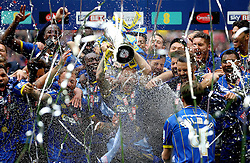 AFC Wimbledon celebrate winning promotion to League One with the League Two Trophy - Mandatory by-line: Robbie Stephenson/JMP - 30/05/2016 - FOOTBALL - Wembley Stadium - London, England - AFC Wimbledon v Plymouth Argyle - Sky Bet League Two Play-off Final