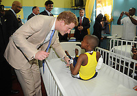 Prince Harry visits Bustamente Children's Hospital in Kingston, Jamaica, on the 6th March 2012<br /> PICTURE BY JAMES WHATLING