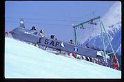Steve Smithwick in a cruise missile. Dangerous Sports Club ski race. St. Moritz. 1984.<br />© Copyright Photograph by Dafydd Jones<br />66 Stockwell Park Rd. London SW9 0DA<br />Tel 0171 733 0108