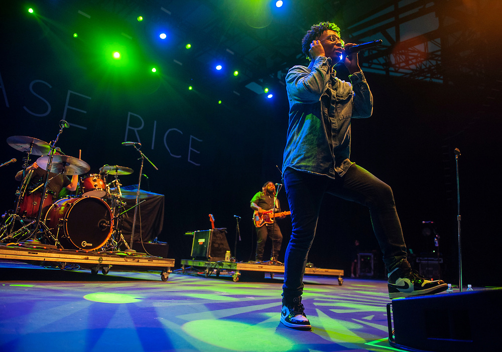 Breland performing at Pacific Amphitheatre September 2, 2021. (Photo by Miguel Vasconcellos, OC Fair & Event Center)