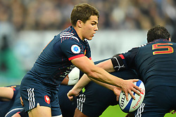 France 's Antoine Dupont during a rugby union international match at Stade de France stadium in Saint Denis, outside Paris, France, Saturday, Nov. 11, 2017Photo by Christian<br /> Liewig/ABACAPRESS.COM