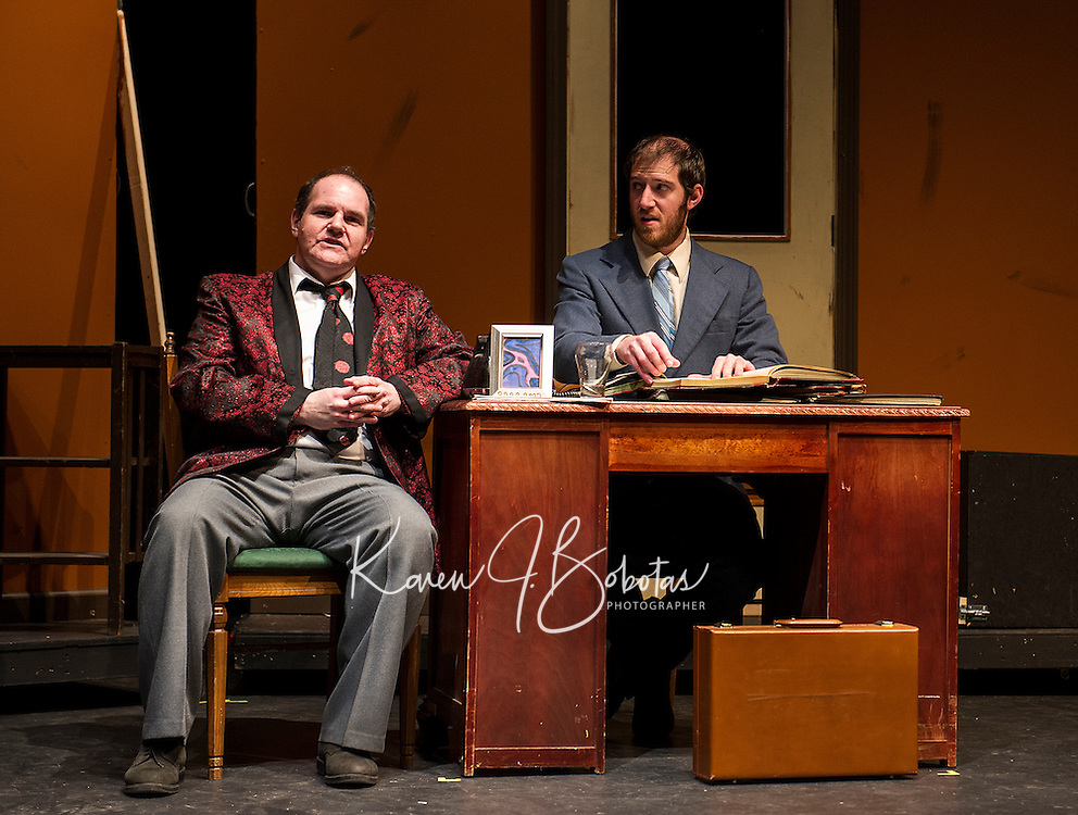 Max Bialystock played by Scott Alward and his accountant Leo Bloom played by Frank Stetson III during dress rehearsal for The Producers with the Streetcar Company at Interlakes High School on Monday evening.   (Karen Bobotas/for the Laconia Daily Sun)