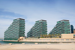 Apartment buildings at Al Bandar at Al Raha Beach district in Abu Dhabi United Arab Emirates