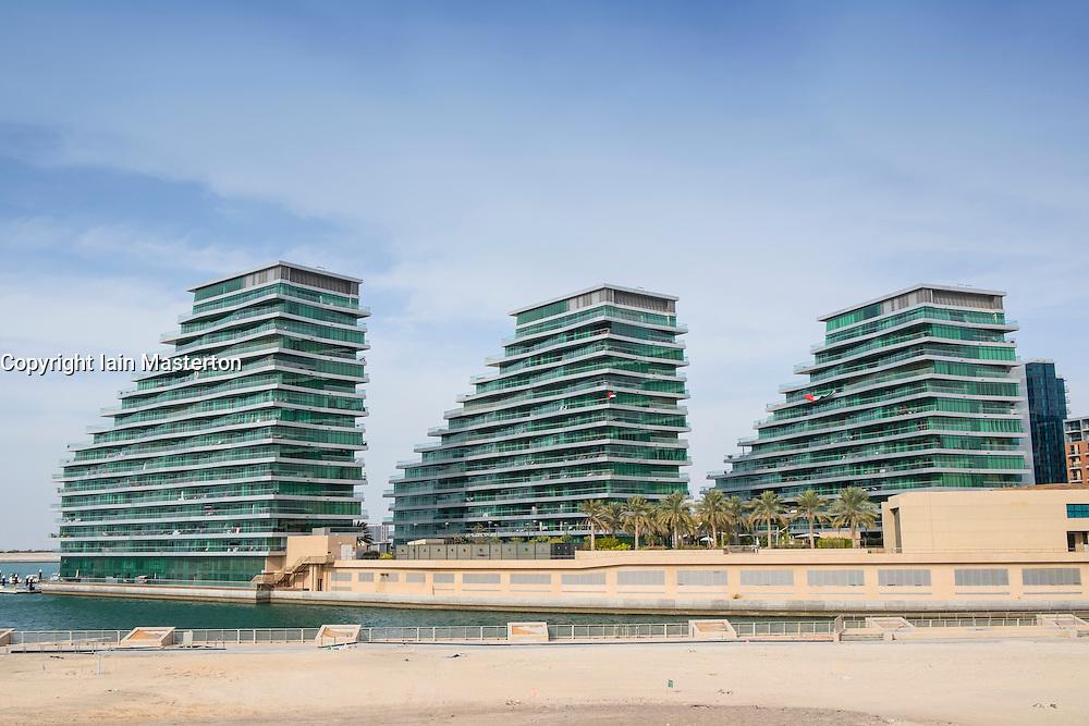 Apartment buildings at Al Bandar at Al Raha Beach district in Abu Dhabi United Arab Emirates