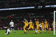 Son Heung-min of Tottenham Hotspur (L) scores his team's second goal. Premier league match, Tottenham Hotspur v Brighton & Hove Albion at Wembley Stadium in London on Wednesday 13th December 2017.<br /> pic by Steffan Bowen, Andrew Orchard sports photography.