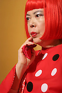 Japanese artist Yayoi Kusama, prior to recieving the 2006 Praemium Imperiale art award, given by The Japan Art Association in the Hotel Okura, Tokyo, Japan, on Tuesday, Oct. 17,  2006. The five laureates in 2006 were internationally renowned  Japanese artist Kusama Yayoi, French sculptur Christian Boltanski, German architect Frei Otto, American musician Steve Reich, and Russian dancer ballerina Maya Plisetskaya. All recieve an honorarium of 15 million Yen, and a medal. The Japan Art Association is the oldest cultural foundation in Japan, established in 1887. The laureates are chosen each year by an international jury, from a list of nominees put forward by advisors. The awards are held annually in Tokyo in the presence of Prince and Princes Hitachi.