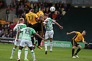 Joss Labadie of Newport county (4 centre ) heads and scores his teams 2nd goal. EFL Skybet football league two match, Newport county v Yeovil Town at Rodney Parade in Newport, South Wales on Saturday 7th October 2017.<br /> pic by Andrew Orchard,  Andrew Orchard sports photography.