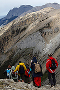 Changing weather conditions on the hike up to Sulphur Skyline, near Miette Hot Springs & Jasper, in Alberta