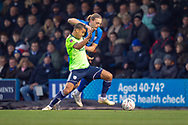 Cardiff City defender Lee Peltier (2) (left) and Gillingham FC forward Tom Eaves (9) during the The FA Cup 3rd round match between Gillingham and Cardiff City at the MEMS Priestfield Stadium, Gillingham, England on 5 January 2019. Photo by Martin Cole.