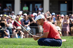 June 3, 2018 - Dublin, OH, U.S. - DUBLIN, OH - JUNE 03:  Bryson DeChambeau focuses on his putt on the 18th green during the final round of the Memorial Tournament at Muirfield Village Golf Club in Dublin, Ohio on June 03, 2018. (Photo by Shelley Lipton/Icon Sportswire) (Credit Image: © Shelley Lipton/Icon SMI via ZUMA Press)