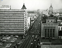 1965 Looking east at Hollywood Blvd. & Highland Ave.