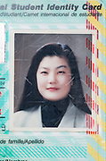 ID portrait of an Asian woman on a Student Identy Card from 1993