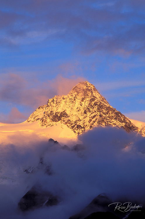 Evening light on Mount Shuksan after a clearing storm, North Cascades National Park, Washington