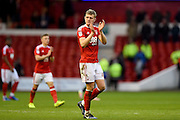 Nottingham Forest defender Joe Warrall (42) applauds the Forest fans during the EFL Sky Bet Championship match between Nottingham Forest and Brighton and Hove Albion at the City Ground, Nottingham, England on 4 March 2017. Photo by Jon Hobley.