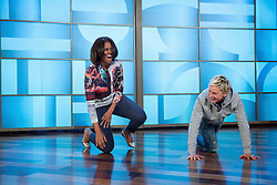 """First Lady Michelle Obama rehearses with Ellen DeGeneres for a #GimmeFive """"Let's Move!"""" dance, prior to a taping of The Ellen DeGeneres Show in Burbank, Calif., March 12, 2015. (Official White House Photo by Amanda Lucidon)<br /> <br /> This official White House photograph is being made available only for publication by news organizations and/or for personal use printing by the subject(s) of the photograph. The photograph may not be manipulated in any way and may not be used in commercial or political materials, advertisements, emails, products, promotions that in any way suggests approval or endorsement of the President, the First Family, or the White House."""