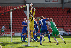 WREXHAM, WALES - Monday, May 2, 2016: Airbus UK Broughton's goalkeeper James Coates makes a save during the 129th Welsh Cup Final against The New Saints at the Racecourse Ground. (Pic by David Rawcliffe/Propaganda)