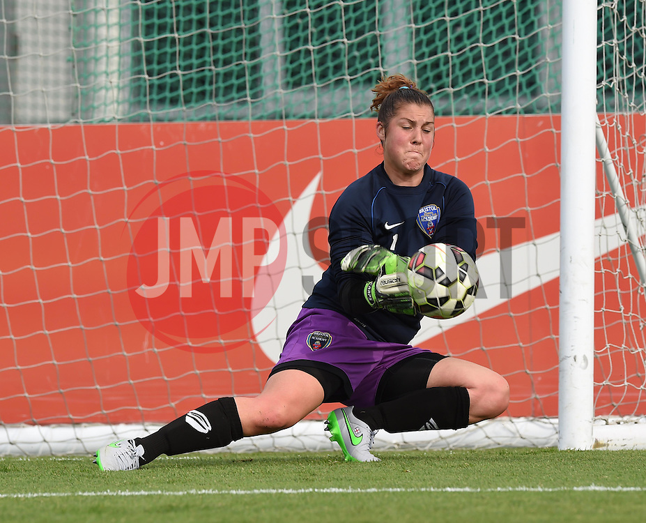 Bristol Academy's Mary Earps warms up before the FA Women's Super League game between Bristol Academy Women and Manchester City Women on 18 July 2015 in Bristol, England - Photo mandatory by-line: Paul Knight/JMP - Mobile: 07966 386802 - 18/07/2015 - SPORT - Football - Bristol - Stoke Gifford Stadium - Bristol Academy Women v Manchester City Women - FA Women's Super League
