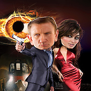 Caricature: Skyfall. This time it really is personal. Daniel Craig as James Bond and Bérénice Marlohe as Severine.  3D modeling and Photoshop. Originally created for Penthouse Magazine Movie Review.