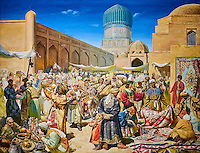 Ouzbekistan, Tashkent, place Tamerlan, Musée Tamerlan, fresque représentant le bazar a Samarcande // Uzbekistan, Tashkent, Tamerlan square, Tamerlan museum,  fresco of a bazaar in Samarcand