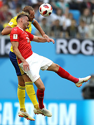 SAINT PETERSBURG, July 3, 2018  Josip Drmic (front) of Switzerland competes during the 2018 FIFA World Cup round of 16 match between Switzerland and Sweden in Saint Petersburg, Russia, July 3, 2018. (Credit Image: © Xu Zijian/Xinhua via ZUMA Wire)