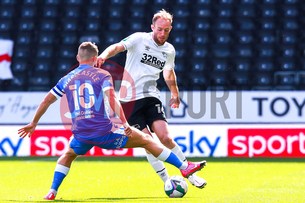 Lewis Hardcastle of Barrow prepares to block a pass by Matt Clarke of Derby County - Mandatory by-line: Ryan Crockett/JMP - 05/09/2020 - FOOTBALL - Pride Park Stadium - Derby, England - Derby County v Barrow - Carabao Cup