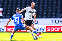 Lewis Hardcastle of Barrow prepares to block a pass by Matt Clarke of Derby County - Mandatory by-line: Ryan Crockett/JMP - 05/09/2020 - FOOTBALL - Pride Park Stadium - Derby, England - Derby County v Barrow - Carabao Cup