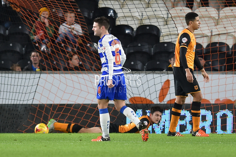 Oliver Norwood Reading FC celebrates Nick Blackman Reading FC  scoring to go 1-0 up  during the Sky Bet Championship match between Hull City and Reading at the KC Stadium, Kingston upon Hull, England on 16 December 2015. Photo by Ian Lyall.