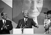 Fianna Fáil Ard Fheis.  (R97)..1989..25.02.1989..02.25.1989..25th February 1989..The Fianna Fáil Ard Fheis was held today at the RDS Main Hall, Ballsbridge, Dublin. An Taoiseach, Charles Haughey TD,gave the keynote speech of the event...An Taoiseach, Charles Haughey TD, is pictured as he takes place at the podium, he is accompanied by An Tanaiste, Brian Lenihan and Minister Máire Geoghegan-Quinn