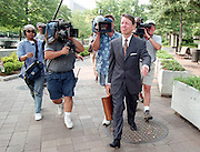 David Kendall, attorney for US President Bill Clinton, leaves the Federal Courthouse followed by camera crews as the Grand Jury is investigating President Bill Clinton continues July 28, 1998 in Washington, DC.