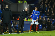 Portsmouth Manager, Kenny Jackett has a word with Portsmouth Midfielder, Ronan Curtis (11) during the EFL Sky Bet League 1 match between Portsmouth and Sunderland at Fratton Park, Portsmouth, England on 22 December 2018.