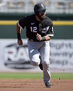 GOODYEAR, ARIZONA - MARCH 06:  Adam Eaton #12 of the Chicago White Sox runs the bases against the Cleveland Indians during a spring training game on March 6, 2021 at Goodyear Ballpark in Goodyear Arizona.  (Photo by Ron Vesely) Subject:  Adam Eaton