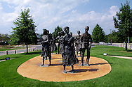 LITTLE ROCK, AR - 1 August 2010 - The  Little Rock Nine Civil Rights Memorial in Arkansas State Capitol grounds comemorates a group of African-American students who were enrolled in Little Rock Central High School in 1957. The ensuing 'Little Rock Crisis', in which the students were initially prevented from entering the racially segregated school by Arkansas Governor Orval Faubus, and then attended after the intervention of President Eisenhower, is considered to be one of the most important events in the African-American Civil Rights Movement. On their first day of school, guards at the school would not let them in and they were followed by mobs making threats to lynch..The Little Rock Nine consisted of Ernest Green (b. 1941), Elizabeth Eckford (b. 1941), Jefferson Thomas (b. 1942), Terrence Roberts (b. 1941), Carlotta Walls LaNier (b. 1942), Minnijean Brown (b. 1941), Gloria Ray Karlmark (b. 1942), Thelma Mothershed (b. 1940), and Melba Beals (b. 1941).  Picture Ryan Eyer/Allied Picture Press
