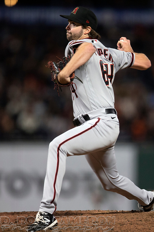 Arizona Diamondbacks pitcher Sean Poppen (64) delivers a pitch against the San Francisco Giants during the sixth inning of a baseball game, Tuesday, Sept. 28, 2021, in San Francisco. (AP Photo/D. Ross Cameron)