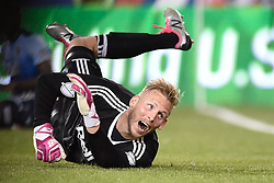 October 7, 2017 - Harrison, New Jersey, U.S - Vancouver Whitecaps  goalkeeper DAVID OUSTED (1) reacts as New York's third gaol is scored at Red Bull Arena in Harrison New Jersey New York defeats Vancouver 3 to 0 (Credit Image: © Brooks Von Arx via ZUMA Wire)