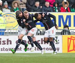Falkirk's Craig Sibbald cele scoring their goal. half time : Falkirk 1 v 1 Hibernian, Scottish Championship game played 31/12/2016 at The Falkirk Stadium .