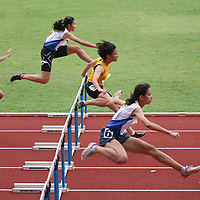 Choa Chu Kang Stadium, Thursday, April 11, 2013 — Kerstin Ong of Singapore Sports School set a personal best when she clocked 14.99 seconds to take home the gold for the B Division girls' 100m hurdles event at the 54th National Schools Track and Field Championships. She narrowly missed out on the record by 0.16s. <br /> <br /> Story: http://www.redsports.sg/2013/04/15/b-girls-100m-hurdles-kerstin-ong-singapore-sports-school/
