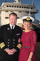 Voyages of Discovery's newly refurbished ship mv Voyager is named in Portsmouth..History and wildlife presenter Miranda Krestovnikoff today named new ship mv Voyager at a ceremony held in Portsmouth. Pic shows Captain of mv Voyager Captain Neil Broomhall and Miranda Krestovnikoff
