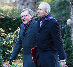 Downing Street, London, November 29th 2016. Scotland Secretary David Mundell and Leader of the House of Commons David Lidington (right) arrives at 10 Downing Street for the weekly meeting of the UK cabinet.
