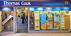 © Licensed to London News Pictures.  06/03/2013. AYLESBURY, UK. General view of a Thomas Cook travel agent in Aylesbury, Buckinghamshire taken today (Wed 6th). The company has announced 195 stores are to be closed at the cost of 2,500 jobs.  Photo credit: Cliff Hide/LNP