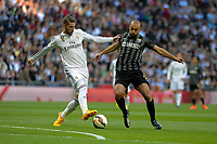 Real Madrid´s Sergio Ramos and Malaga´s Nordin Amrabat during 2014-15 La Liga match between Real Madrid and Malaga at Santiago Bernabeu stadium in Madrid, Spain. April 18, 2015. (ALTERPHOTOS/Luis Fernandez)