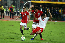 ALEXANDRIA, Nov. 17, 2018  Mohamed Elneny (C) of Egypt vies with Ferjani Sassi (R) of Tunisia during the 2019 Africa Cup of Nations qualifier match between Egypt and Tunisia in Alexandria, Egypt, on Nov. 16, 2018. Egypt won 3-2. (Credit Image: © Ahmed Gomaa/Xinhua via ZUMA Wire)