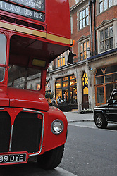 Routemaster bus parked outside RRL in Mount Street at a reception hosted by Ralph Lauren Double RL and Dexter Fletcher before a private screening of Wild Bill benefitting FilmAid held at RRL 16 Mount Street, London on 26th March 2012.