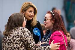 Maidenhead, UK. 12 December, 2019. Cllr Samantha Rayner (c, Conservative), observes proceedings at the count for the general election for the Maidenhead constituency.
