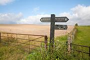 Footpath sign on the Ridgeway long distance footpath near Bishopstone, Wiltshire, England
