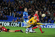 Cardiff city's Rudy Gestede (l on ground) scores his teams goal past Peterborough keeper Robert Olejnik to make it 1-2. NPower championship, Cardiff city v Peterborough Utd at the Cardiff city stadium in Cardiff, South Wales on Sat 15th Dec 2012. pic by Andrew Orchard, Andrew Orchard sports photography,